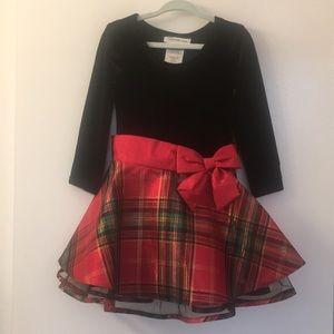 Bonnie Jean black velvet and plaid dress 2T